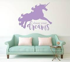 Unicorn Wall Vinyl Sticker Chase Your Dreams Af1 Decal Decor Ebay