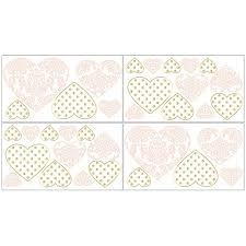 Sweet Jojo Designs Amelia Heart Wall Decal Stickers In Pink Gold Bed Bath Beyond
