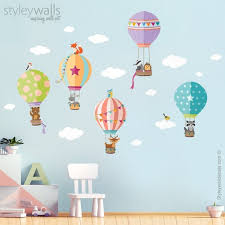 Air Balloons Wall Decal Woodland Animals Wall Decal Forest Etsy