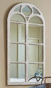wood window mirror distressed white