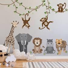 Large Safari Animals And Monkey Wall Decals Jungle Animal Wall Sticke
