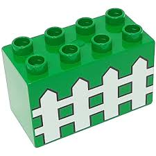 Lego Green Duplo Brick 2 X 4 X 2 With White Picket Fence Brick Owl Lego Marketplace