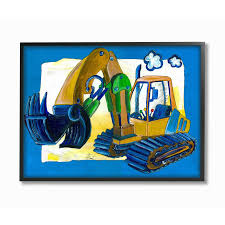 Shop The Kids Room By Stupell The Kids Room By Stupell Yellow Excavator With Blue Border Black Framed 24 X 30 Proudly Made In Usa On Sale Free Shipping Today Overstock 30334767