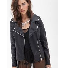 love21 quilted faux leather moto