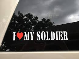 Amazon Com I Love My Soldier W Red Heart Car Decal Sticker White Red Automotive