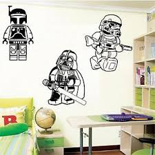 Large Lego Star Wars Darth Vader Stormtrooper Boba Fett Wall Art Bedroom Sticker Ebay Bedroom Stickers Boba Fett Wall Art Lego Room