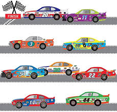 Amazon Com Race Cars Wall Decals With 14 Ft Of Race Car Track Decals Auto Racing Decals Home Kitchen