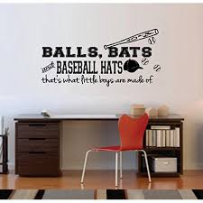 Decal Balls Bats And Baseball Hats That S What Little Boys Are Made Of Wall Decal Small 13 X 27 Walmart Com Walmart Com