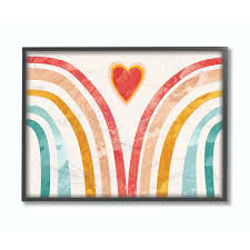 The Kids Room By Stupell 11 In X 14 In Kids Paper Collage Rainbow Heart By Daphne Polselli Framed Wall Art Brp 2451 Fr 11x14 The Home Depot Textured Wall Art Heart Wall