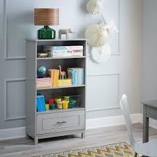 Kids Room Bookcase Gray Modern Bookshelf Display Shelves