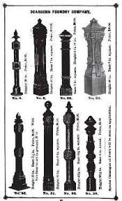 Single 19th Century All Original And Intact Chicago Style Exterior Ornamental Cast Iron Newel Post With