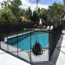 China 4ft 5ft Black Beige Diy Inground Mesh Pool Fence Fencing Section Kit 4 X 12ft 3m Panel Sections Removable Pool Fence For Children Safety China Swimming Pool Fence Removable Swimming
