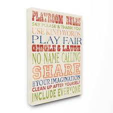 The Kids Room By Stupell Playroom Rules In Four Colors Stretched Canvas Wall Art 16 X 1 5 X 20 Walmart Com Walmart Com