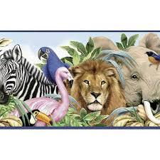 Kids Room Jungle Animals Wide Diecut Wallpaper Border Wallpaper Borders Tools Home Improvement
