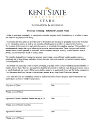 informed consent form fitness testing
