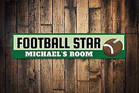 Football Player Sign Personalized Kid Name Football Room Sign Custom Metal Football Star Sports Lover Decor Metal Signs Funny Aluminum Sign For Garage Home Yard Fence Driveway Amazon Co Uk Garden Outdoors