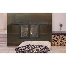 masonry fireplace glass door
