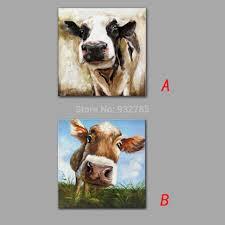 حيوان مضحك بقرة الأكل العشب النفط الطلاء الحديث قماش الفن جدارية