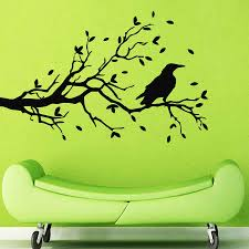 Wall Decals Tree Decal Raven Vinyl Sticker Bedroom Living Room Home Decor Home Decor Wall Decals Treestickers Bedroom Aliexpress