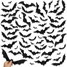 Amazon Com Halloween Larger 3d Bats Decoration Scary Pvc Large Bat Wall Sticker Diy Window Decal For Halloween Party Supplies 60pcs Kitchen Dining