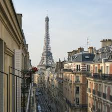 elevated street view with eiffel tower