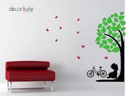 Multicolour Decor Kafe Little Girl Sitting Under Tree Wall Stickers Size Dimension 1 X 94 X 82 Cm Rs 99 Piece Id 19870434933