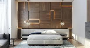bedroom bed design wooden wall design