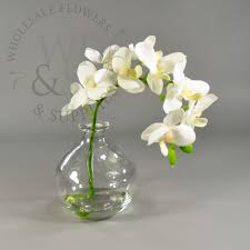 faux phalaenopsis orchid stem in glass