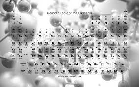 تحميل خلفيات 4k الجدول الدوري للعناصر خلفية رمادية ذرات الجدول