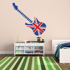 Guitar With A British Flag British Flag Wall Decal British Etsy