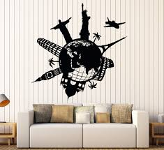 Wall Vinyl Decal Satue Of Liberty Eiffel Tower Famous Places World Map Home Decor Unique Gift Z4419 Vinyl Wall Decals Travel Room Decor Vinyl Wall