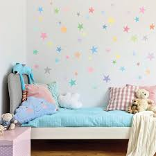 Wall Decals Stars Pastel Sorbet Colors Eco Friendly Fabric Removable