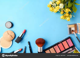 set for makeup on a blue background