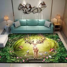 3d Elk Rugs Living Room Carpet Sofa Bedroom Large Rugs Deer Kids Room Kids Room Decorative Play Mat Area Rug Blue Gold Carpets Carpet Aliexpress