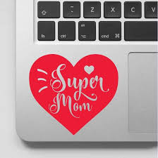 Super Mom With Love Heart Decal Mom Heart Sticker For Laptop Computer Home Decoration Art Vinyl Mural Ga205 Wall Stickers Aliexpress