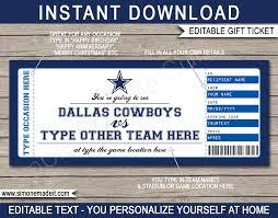 dallas cowboys game ticket gift voucher