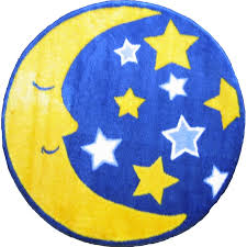Zoomie Kids Pierson Moon And Stars Space Blue Yellow Area Rug Reviews Wayfair