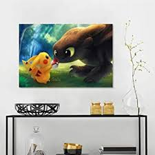 Amazon Com Art Stickers Pikachu With Pokeball Toothless Jn Wall Decals For Kids Living Room W36 X L24 Inch Baby