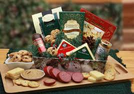holiday gift tray with sausage cheese