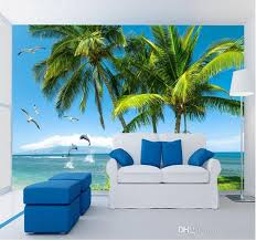 Blue Sky Sea Beach Palm Mew Printing Wall Mural Photo Wallpapers Roll For Sofa Tv Background Wall Decor Wall Paper Painting Download Wallpapers Easter Wallpaper From Fumei168 16 73 Dhgate Com