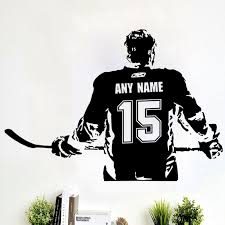 Wall Art Custom Large Ice Hockey Player Choose Jersey Name And Numbers Vinyl Wall Decal Sticker Decor Crosby Mcdavid Kids Bedroo Buy At The Price Of 9 90 In Aliexpress Com Imall Com