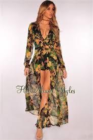 Black Floral Print Long Sleeves Maxi Romper   Miami dresses, Dress ...