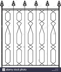Wrought Iron Gate Door Fence Window Grill Railing Design Stock Vector Image Art Alamy