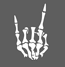 Amazon Com Rock On Skeleton Hand Left Rock And Roll Horns Up Vinyl Decal Sticker For Car Suv Truck 6 5 White Arts Crafts Sewing
