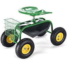 green red garden cart rolling work seat