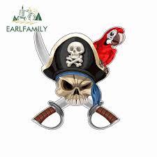Earlfamily 13cm X 11 8cm For Skull Pirate With Patriot Cross Swords Funny Car Stickers Bumper Rv Van Fine Decal Jdm Vinyl Car Stickers Aliexpress