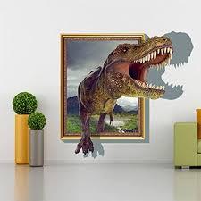 Amazon Com 3d Dinosaur T Rex Head Wall Art Sticker Kids Boys Bedroom Vinyl Mural Decal Home Kitchen