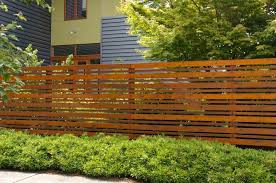 Plentiful Horizontal Railing Wooden Stockade Fence Ideas With Green Plants As Backyard Landscaping Decors Privacy Fence Designs Backyard Fences Fence Design