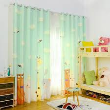 Cartoon Animal Print Giraffe Elephant Cute Kids Room Blackout Curtains