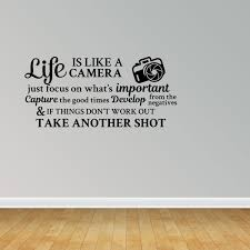 Wall Decal Quote Life Is Like A Camera If Things Don T Work Out Take Another Shot Vinyl Sticker Home Decor Pc522 Walmart Com Walmart Com